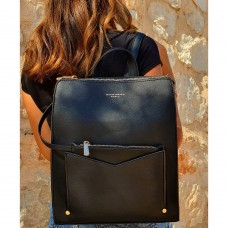 Backpack David Jones Με Εξωτερικό Θηκάκι Μαύρο