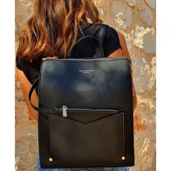 Backpack David Jones Με Εξωτερικό Θηκάκι Μαύρο   Backpack