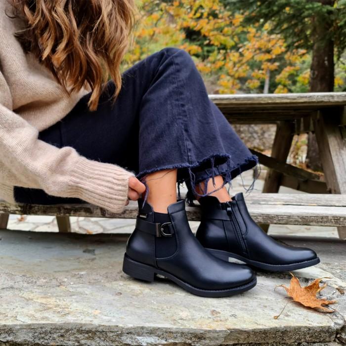 Μποτάκι Αστραγάλου Με Διακοσμητική Λεπτομέρεια Μαύρο Μπότες