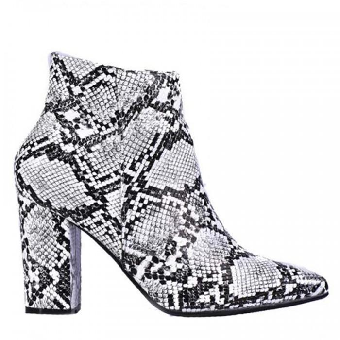 Ankle Boots Λευκό Animal Print  Γυναικεία