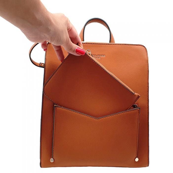Backpack David Jones Με Εξωτερικό Θηκάκι Ταμπά    Backpack
