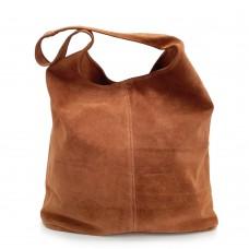 Δερμάτινη Τσάντα Ώμου Suede Camel