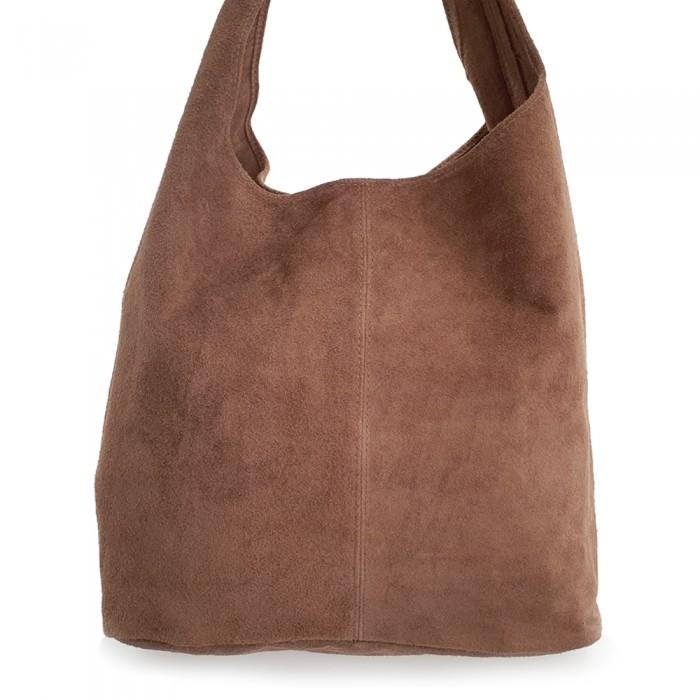 Δερμάτινη Τσάντα Ώμου Suede Πούρο Τσάντες