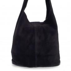 Δερμάτινη Τσάντα Ώμου Suede Μαύρη