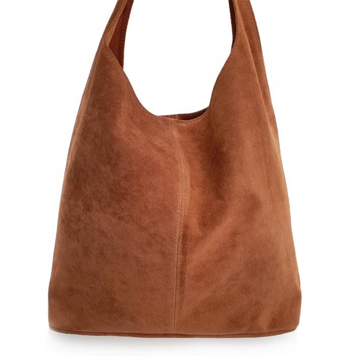 Δερμάτινη Τσάντα Ώμου Suede Camel Τσάντες