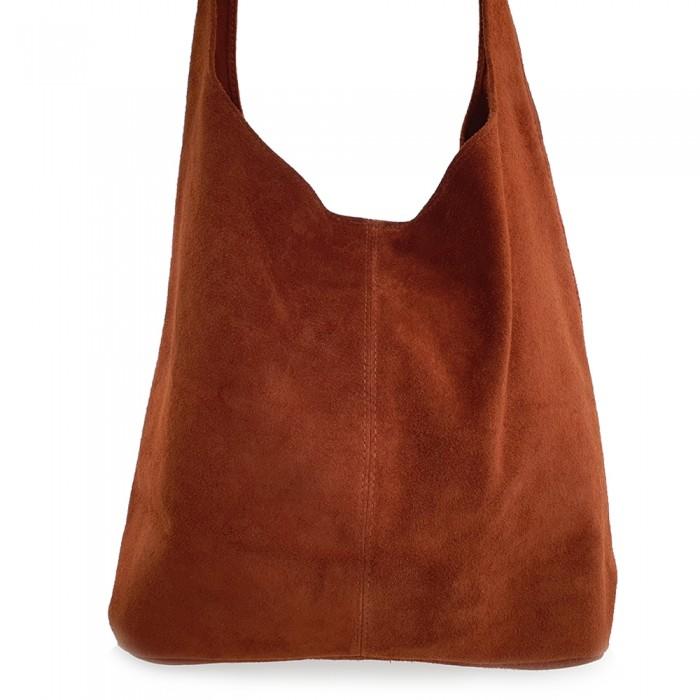 Δερμάτινη Τσάντα Ώμου Suede Ταμπά Τσάντες