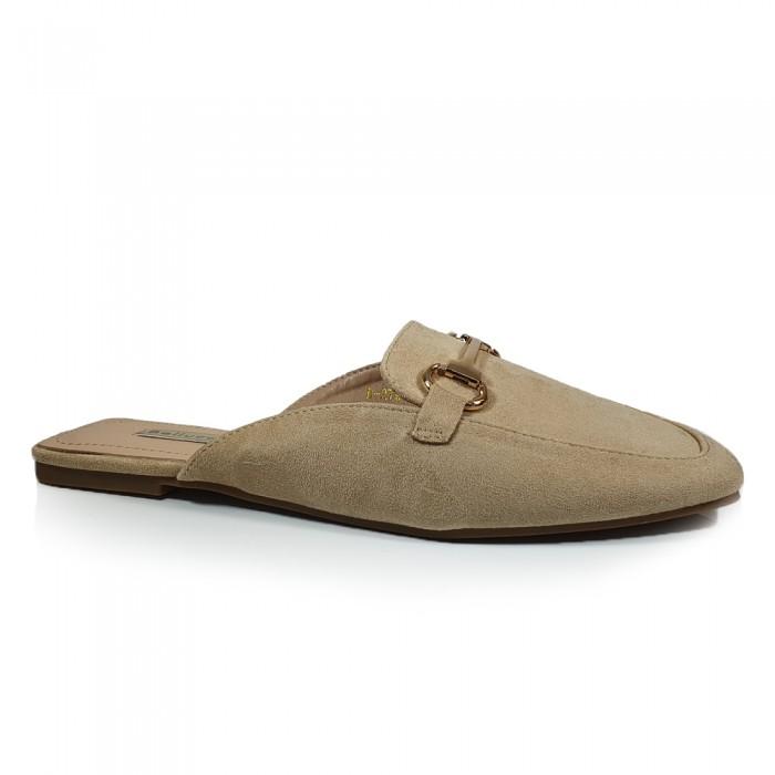 Loafers Mules Μπεζ Γυναικεία