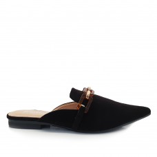 Loafers Mules Suede Μαύρα
