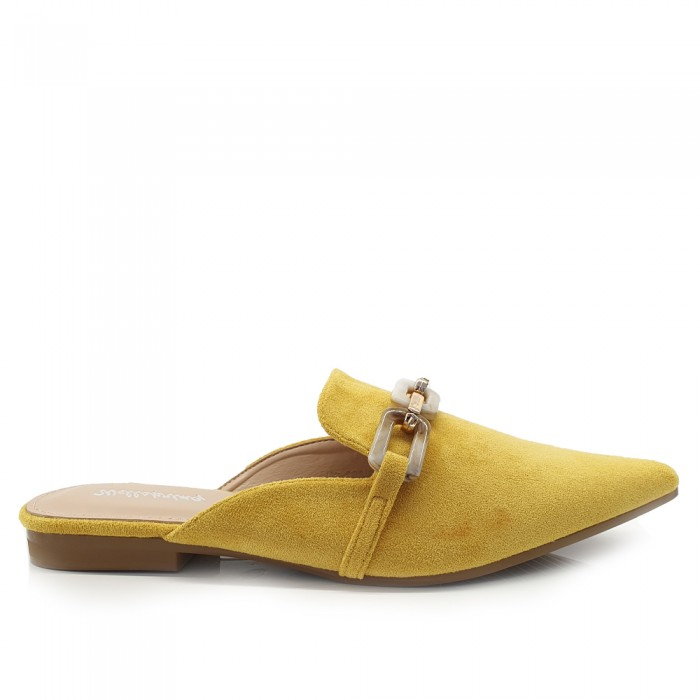 Loafers Mules Suede Κίτρινα Loafers/Μοκασίνια