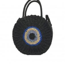 Evil Eye Ψάθινη Τσάντα Μαύρη