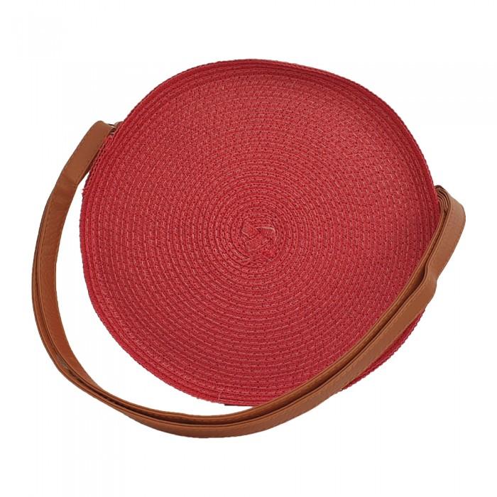 Ψάθινη  Στρογγυλή Τσάντα Κόκκινη Τσάντες