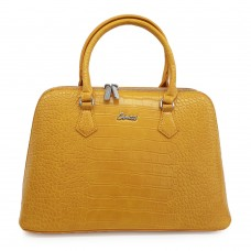 Τσάντα Χειρός Casual Κροκό Κίτρινη